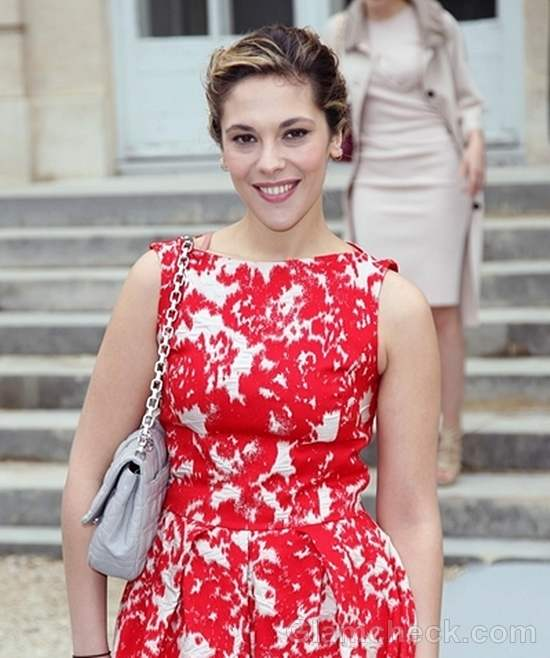 Alysson Paradis  Red Floral Frock at Paris Fashion Week