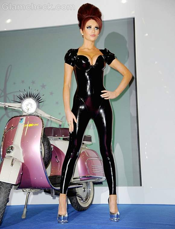 Amy Childs Super Sexy in Catsuit for Professional Beauty 2012 Photocall