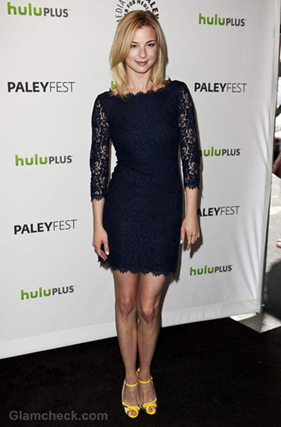 Emily VanCamp Pairs Eye-catching Yellow Shoes with Navy Blue Lace Dress