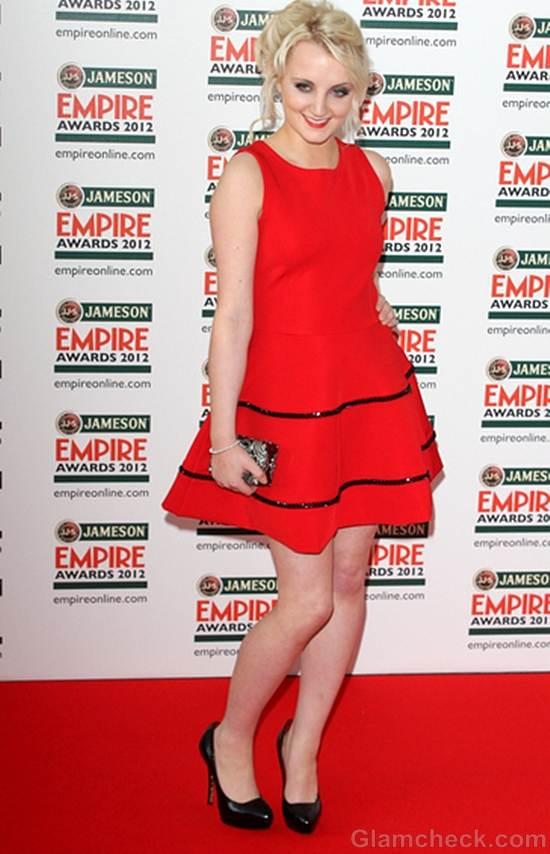 Evanna Lynch red dress empire film awards 2012