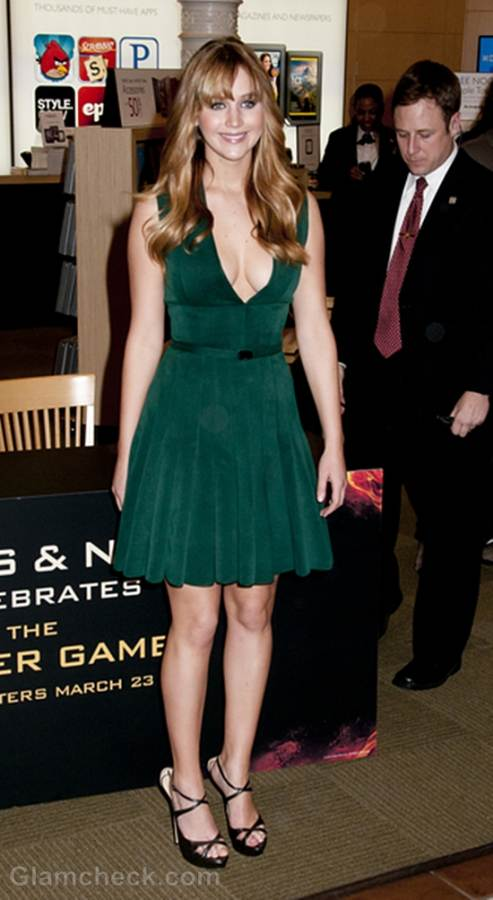 Jennifer Lawrence Lovely in Plunging Green dress