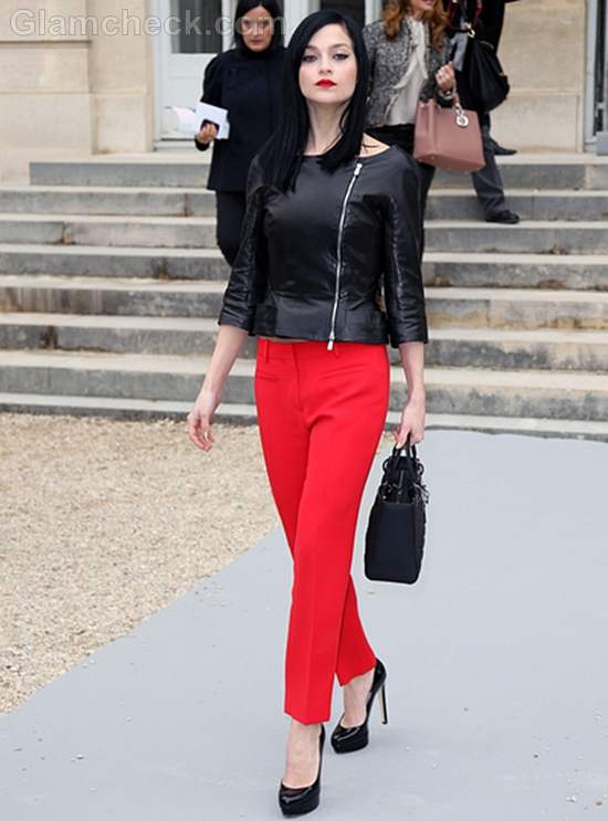 Leigh Lezark Sizzles in Black Leather Top at Paris Fashion Week