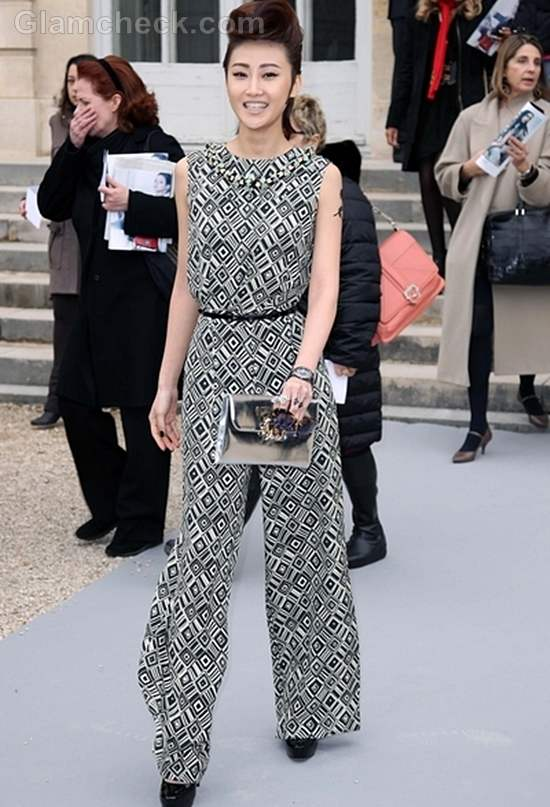 Li Xiao Lu in Patterned Jumpsuit at Paris Fashion Week