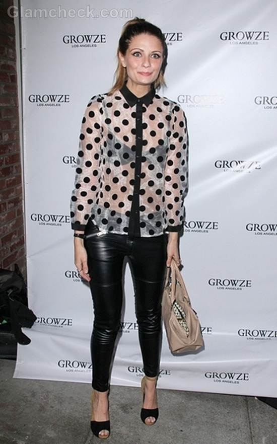 Mischa Barton Leather Leggings Sheer Shirt