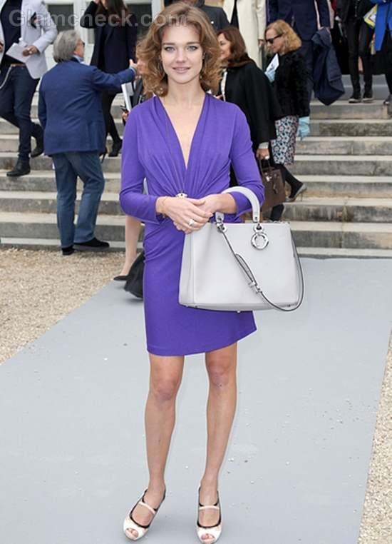 Natalia Vodianova Elegant in Purple Dress at Paris Fashion Week