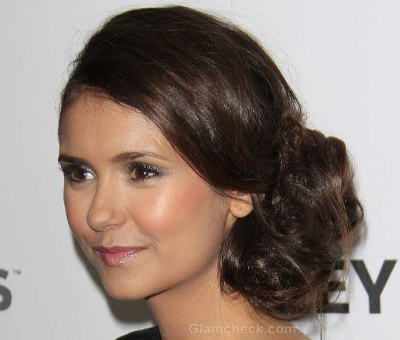 Nina Dobrev Sports Side-swept Chignon at PaleyFest 2012