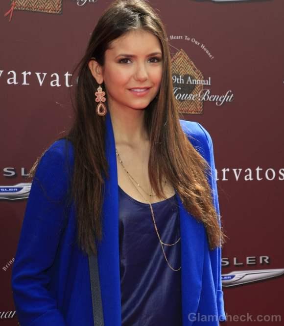 Style inspiration nina dobrev teaches how to breathe with blue