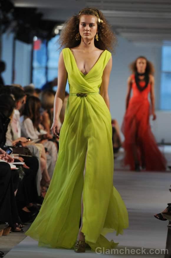 Style pick of the day oscar de La renta fluorescent maxi dress