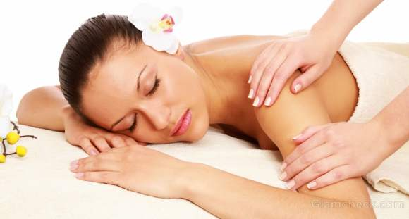 Summer skin care body massage