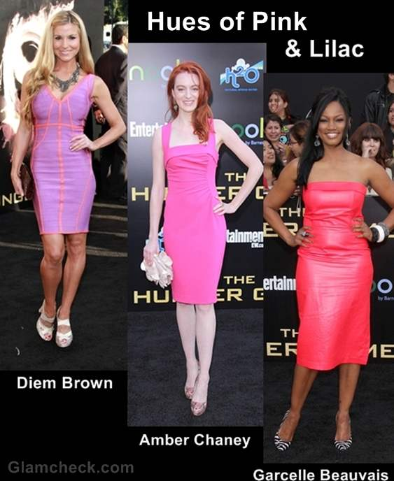 celebs in pink-lilac the hunger games premiere