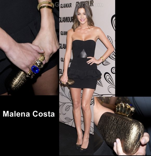how to wear black and gold Malena costa glamour beauty awards 2012