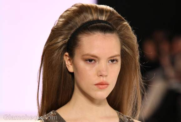Carolina herrera fall winter 2012 subtle makeup sixties hairdo