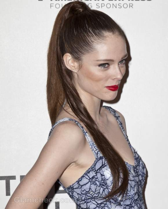Celeb hairstyle coca rocha sleek ponytail