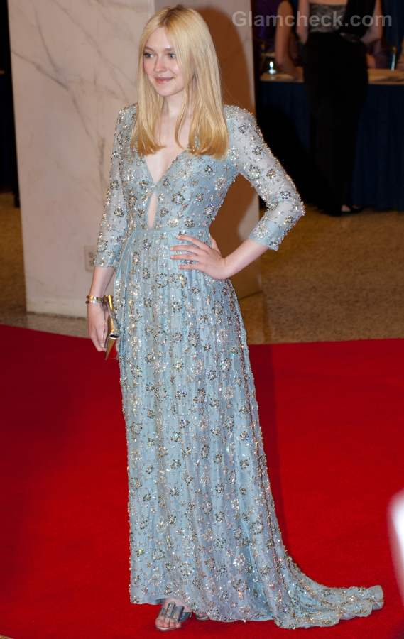 Dakota Fanning Stunning In Baby Blue Prada Gown