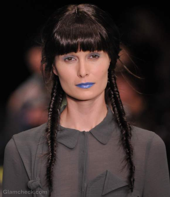 Hairstyle how to two fishtail braids along with bangs
