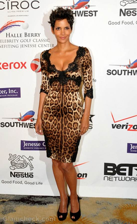 Halle Berry in animal print dress