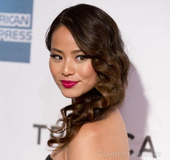 Jamie Chung hairstyle Side-swept Curls
