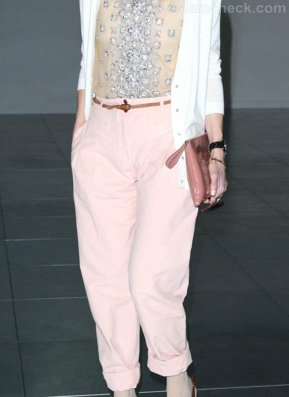Laura Bailey pink panrs  Fall-Winter 2012 London Fashion Week