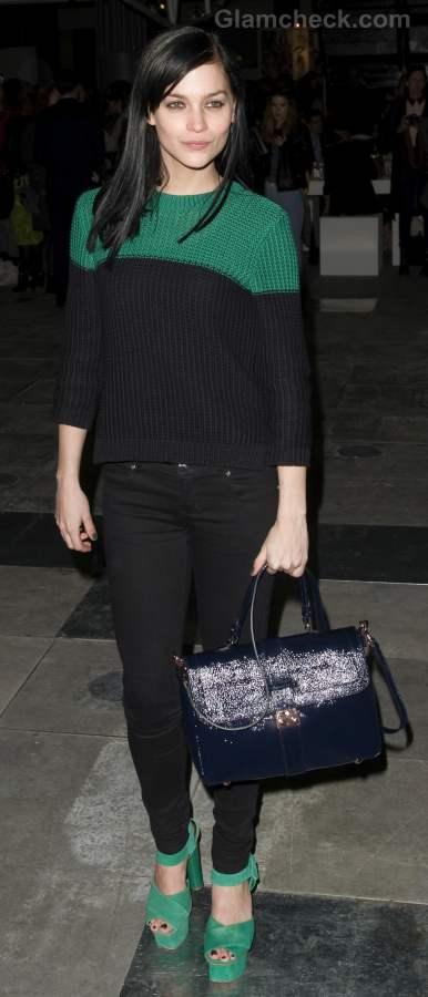 Leigh Lezark color blocking look at fall-winter 2012 london fashion week