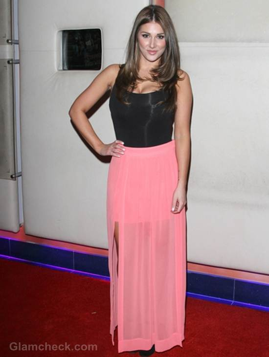 Lucy Pinder Sexy black top sheer skirt