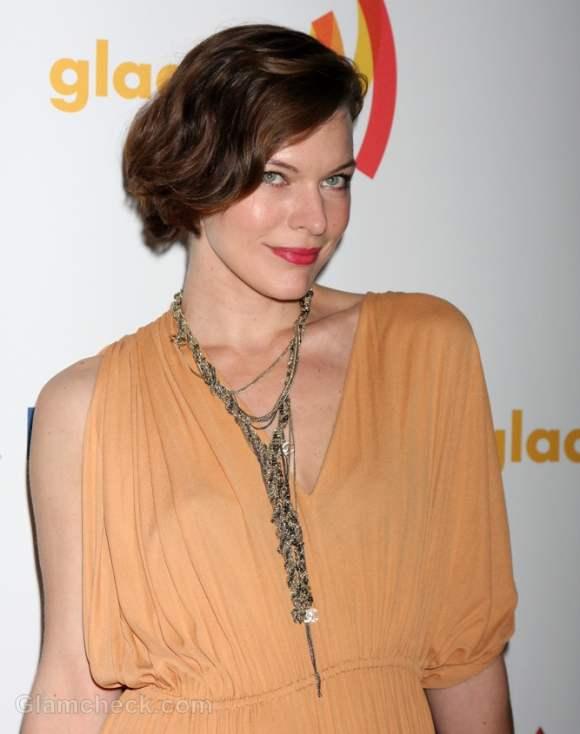 Milla Jovovich Glamorous in Vintage Dress at GLAAD Media Awards