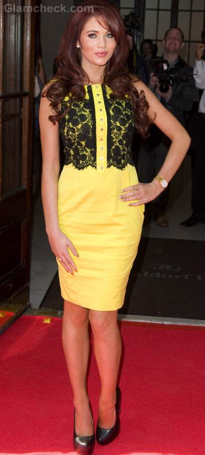 Style inspiration wearing black and yellow Amy Childs