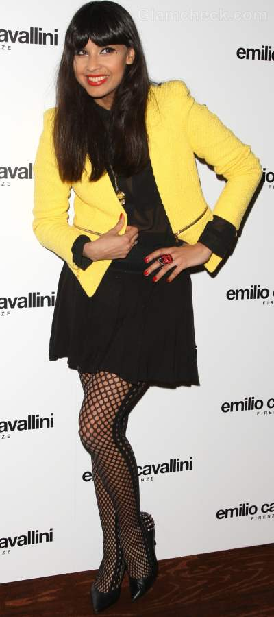Style inspiration wearing black and yellow Jameela Jamil