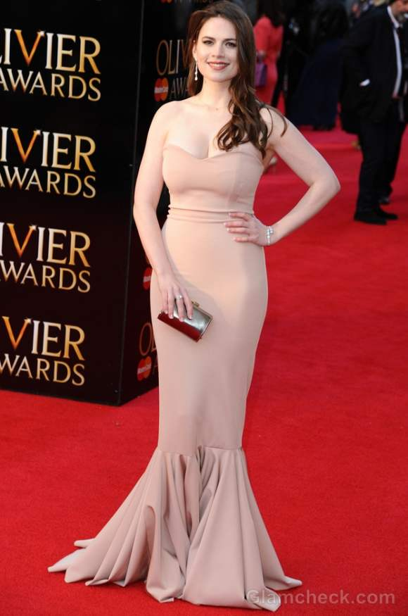 beige-nude gown 2012 Hayley Atwell