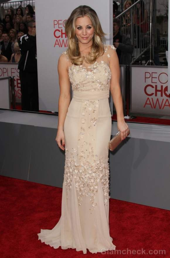 beige-nude gown 2012 Kaley Cuoco