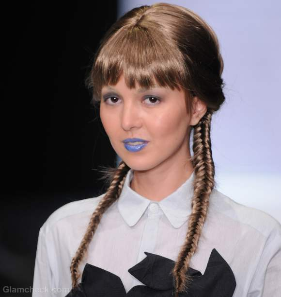 Hairstyle How To : Two Fishtail Braids along with Bangs