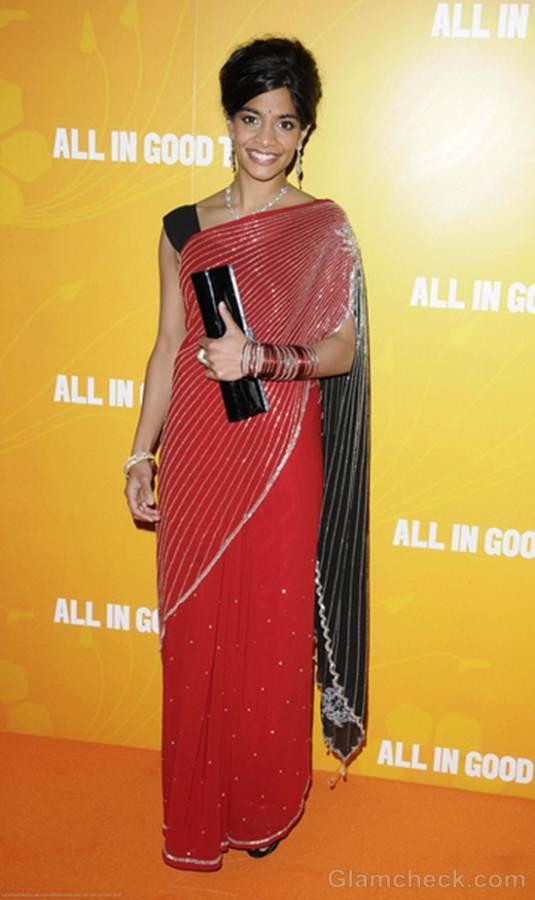 Amara Karan in Red Sari