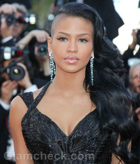 cassie hair style s unique take on side swept hair a hit at 2012 cannes 1916 | Cassie mohawk hairstyle