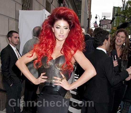 Celeb hair neon hitch voluminous red hair