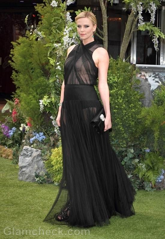 Charlize theron sheer black gown