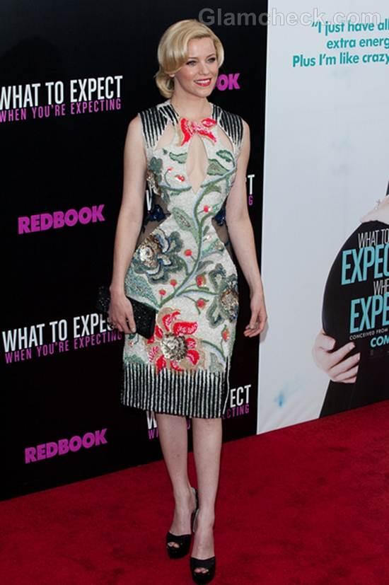 Elizabeth Banks Glamorous in Floral Cutout Dress