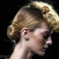 Hairstyle vintage pompadour with bun Kina Fernandez fall-winter-2012