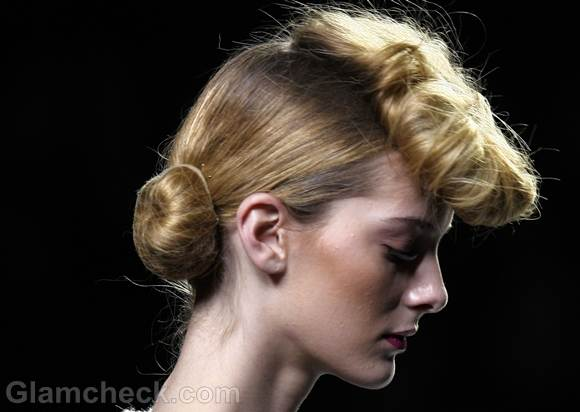Hairstyle vintage pompadour with bun Kina Fernandez fall-winter-2012