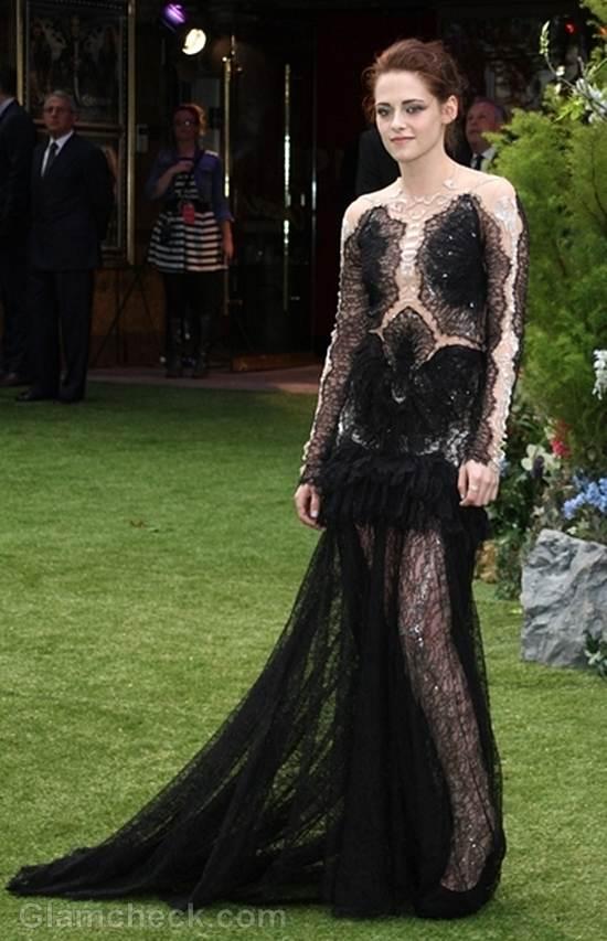 Kristen Stewart black marchesa gown
