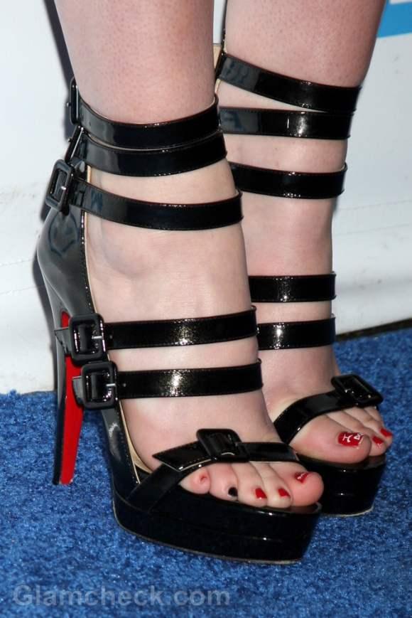 Madeline Carroll black strappy heels