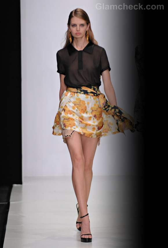 Style pick floral chiffon yellow mini skirt s-s-2012 viva vox