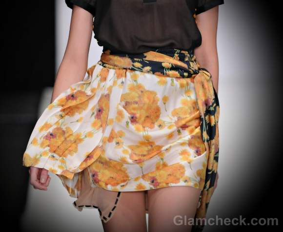 Style pick floral chiffon yellow mini skirt viva vox s-s-2012