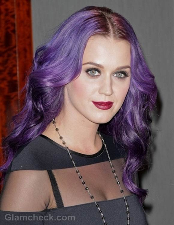 katy perry gets her spring on with purple hair color