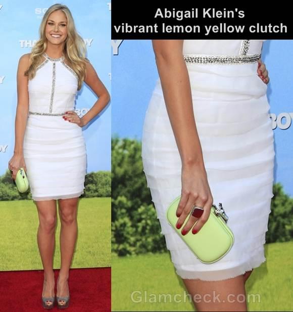 Abigail Klein white dress lemon yellow clutch