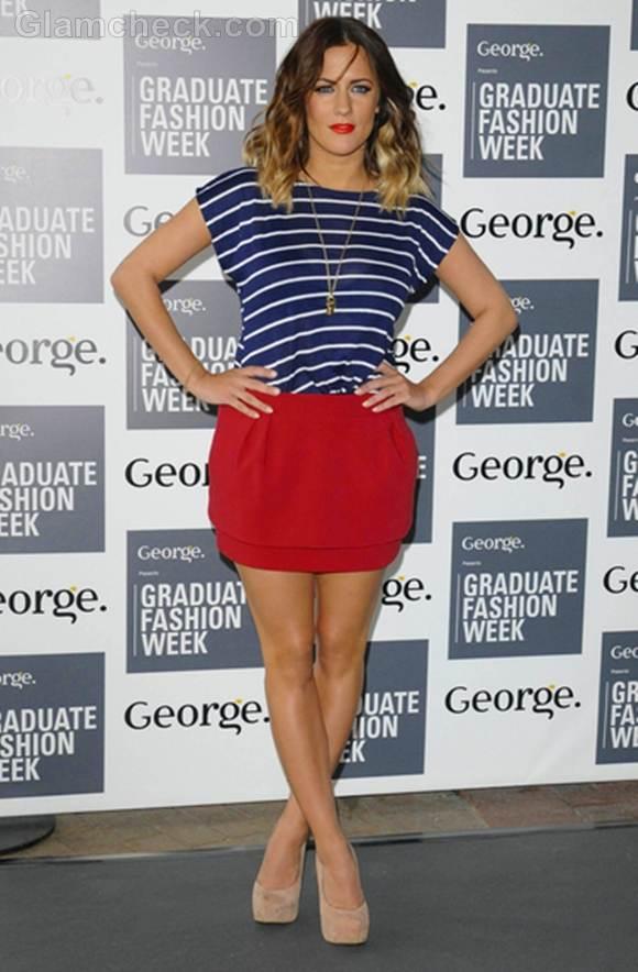 Caroline Flack nautical outfit at graduate fashion week 2012