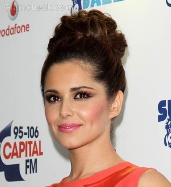 Cheryl Cole elegant top bun hairstyle 2012