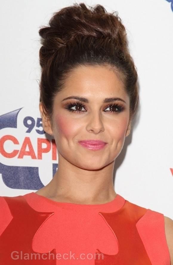 Cheryl Cole top bun hairstyle 2012