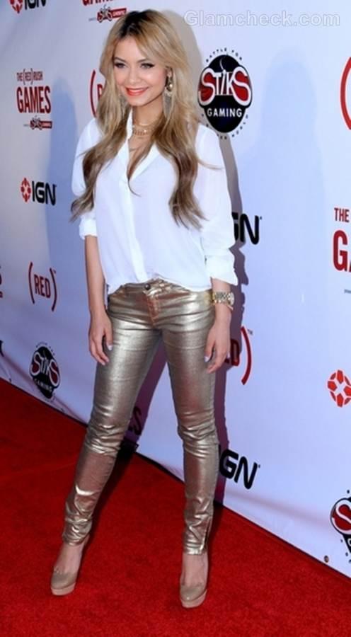 Havana Brown skinny silver pants