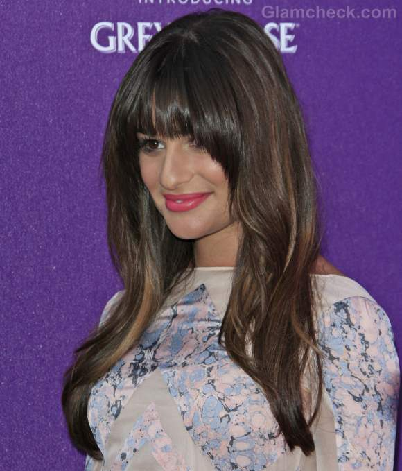 Lea Michele blunt bangs hairstyle
