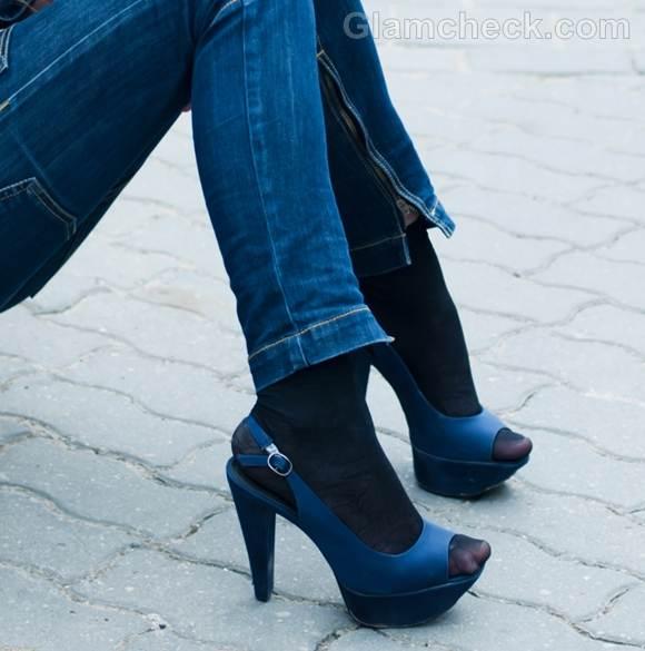 Rock the ook blue heels denim