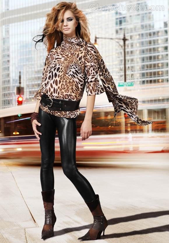 Rock the look wearing animal print and leather combination
